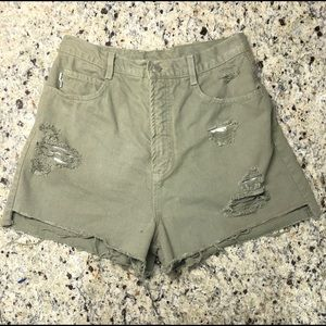 Bongo vintage high waisted shorts jean denim green